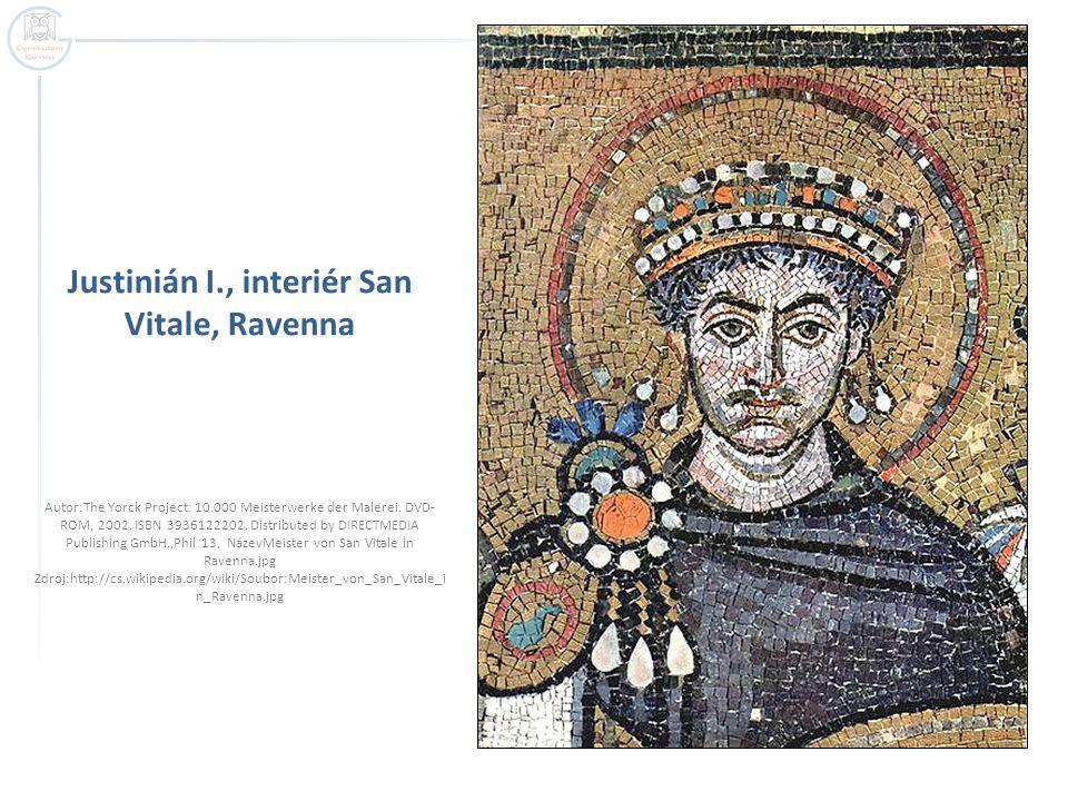 Justinián I., interiér San Vitale, Ravenna