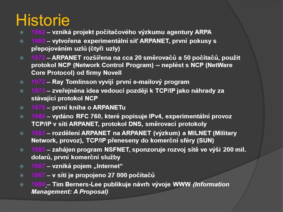 Historie 1962 – vzniká projekt počítačového výzkumu agentury ARPA