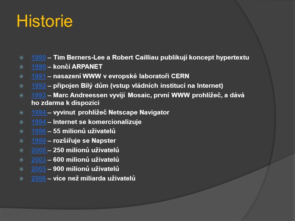 Historie 1990 – Tim Berners-Lee a Robert Cailliau publikují koncept hypertextu. 1990 – končí ARPANET.