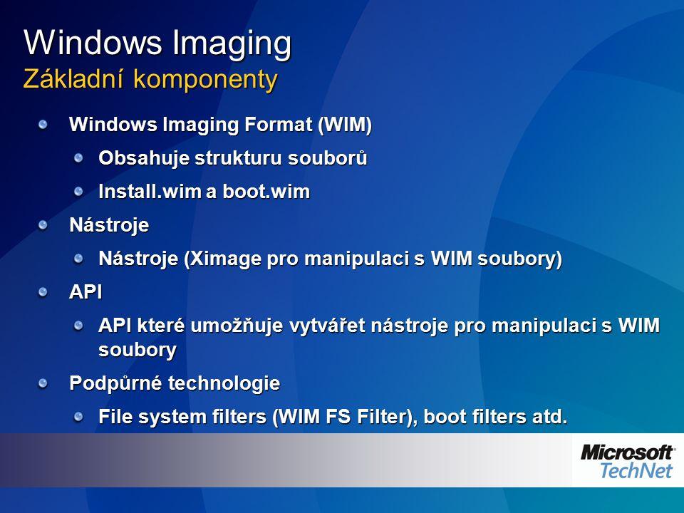 Nové vlastnosti Windows Imaging Modularita Založený na souborech
