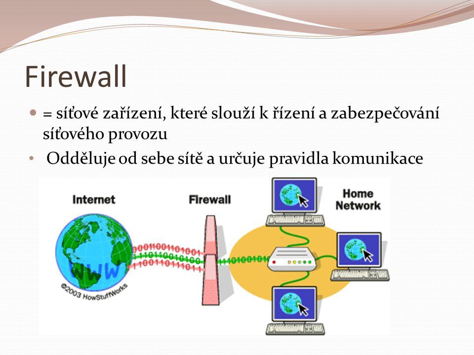 Firewall = síťové zařízení, které slouží k řízení a zabezpečování síťového provozu.