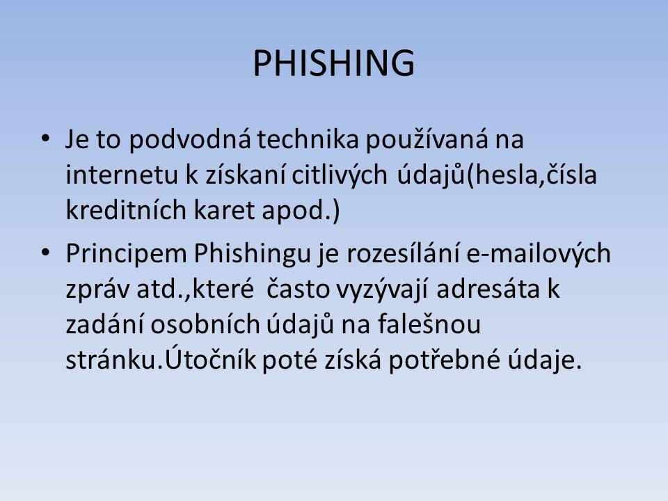 PHISHING Je to podvodná technika používaná na internetu k získaní citlivých údajů(hesla,čísla kreditních karet apod.)