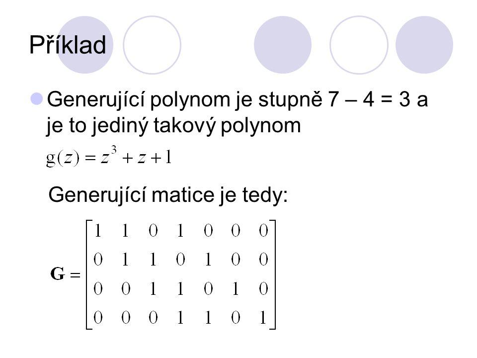 Příklad Generující polynom je stupně 7 – 4 = 3 a je to jediný takový polynom.