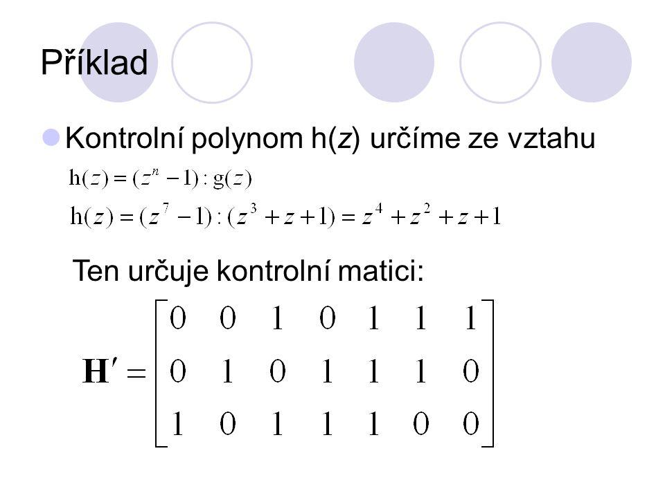 Příklad Kontrolní polynom h(z) určíme ze vztahu