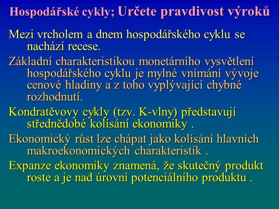 Hospodářské cykly; Určete pravdivost výroků