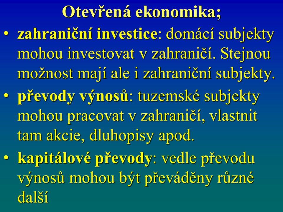 Otevřená ekonomika; zahraniční investice: domácí subjekty mohou investovat v zahraničí. Stejnou možnost mají ale i zahraniční subjekty.