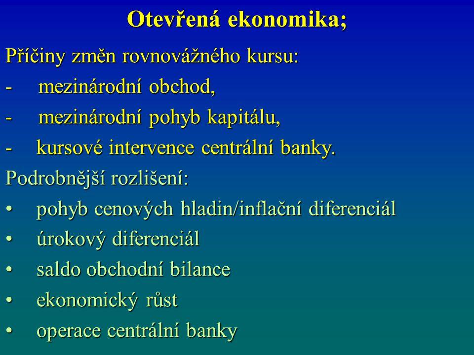 Otevřená ekonomika; Příčiny změn rovnovážného kursu: