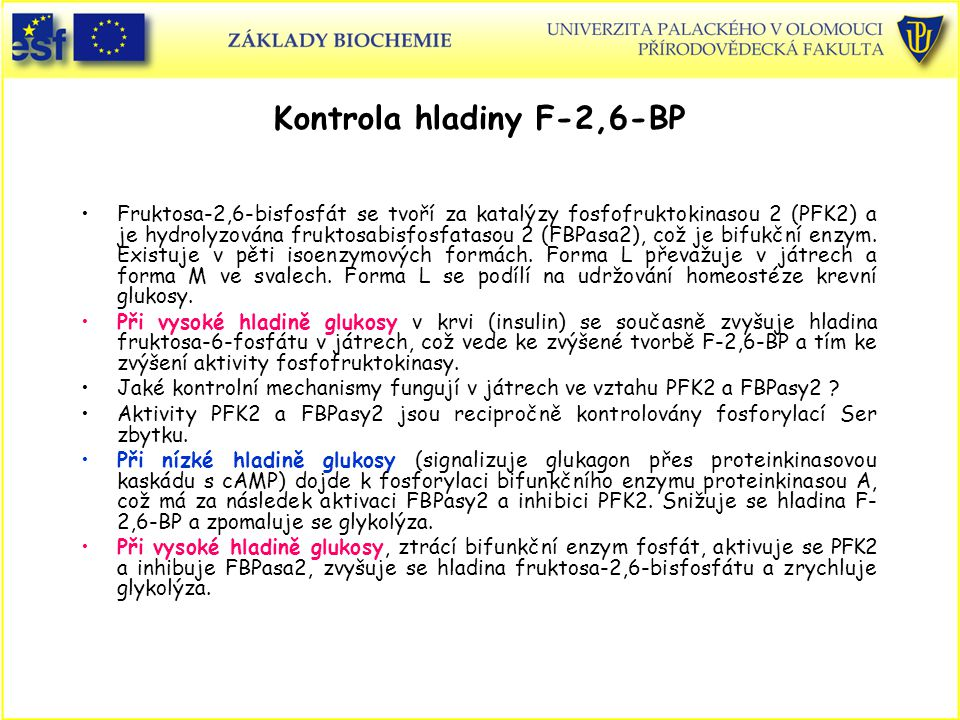 Kontrola hladiny F-2,6-BP