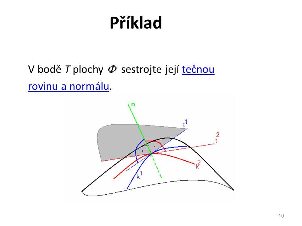 Příklad V bodě T plochy  sestrojte její tečnou rovinu a normálu.
