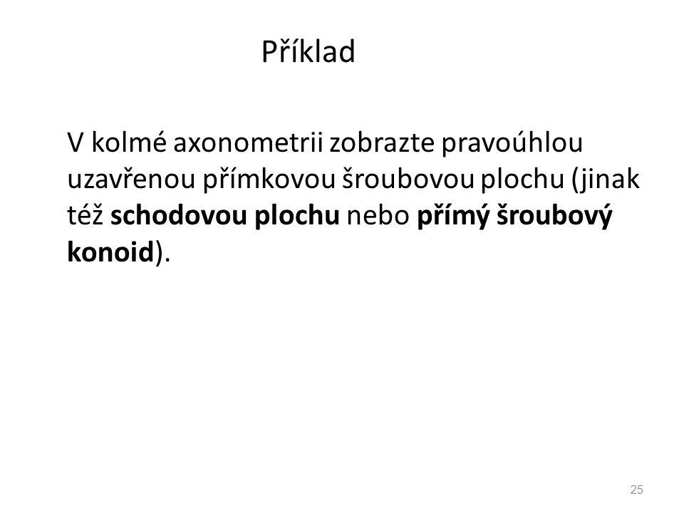 Příklad V kolmé axonometrii zobrazte pravoúhlou uzavřenou přímkovou šroubovou plochu (jinak též schodovou plochu nebo přímý šroubový konoid).