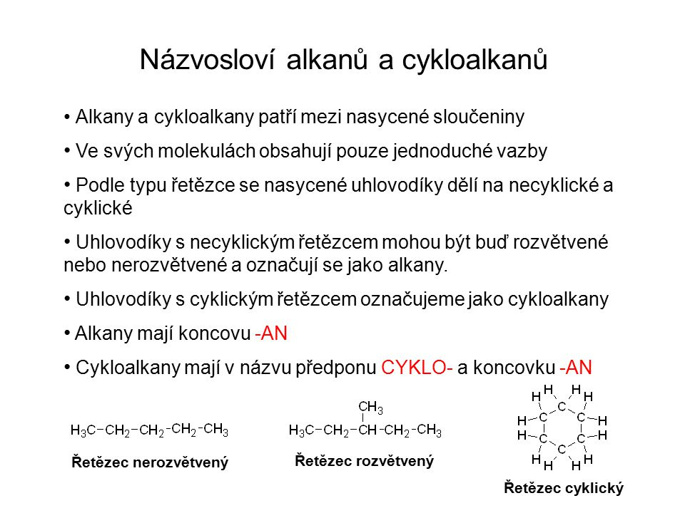 Názvosloví alkanů a cykloalkanů