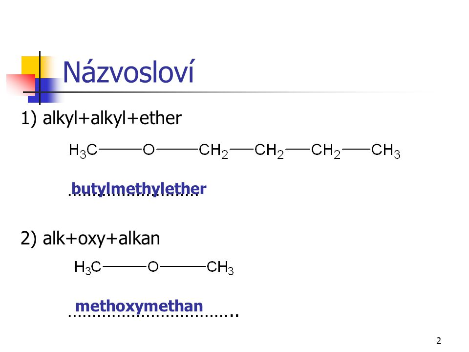 Názvosloví 1) alkyl+alkyl+ether ……………………… 2) alk+oxy+alkan