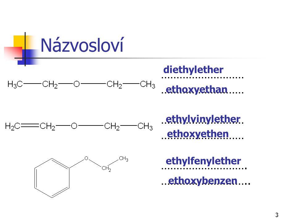 Názvosloví ……………………… ………………………. ……………………….. diethylether ethoxyethan