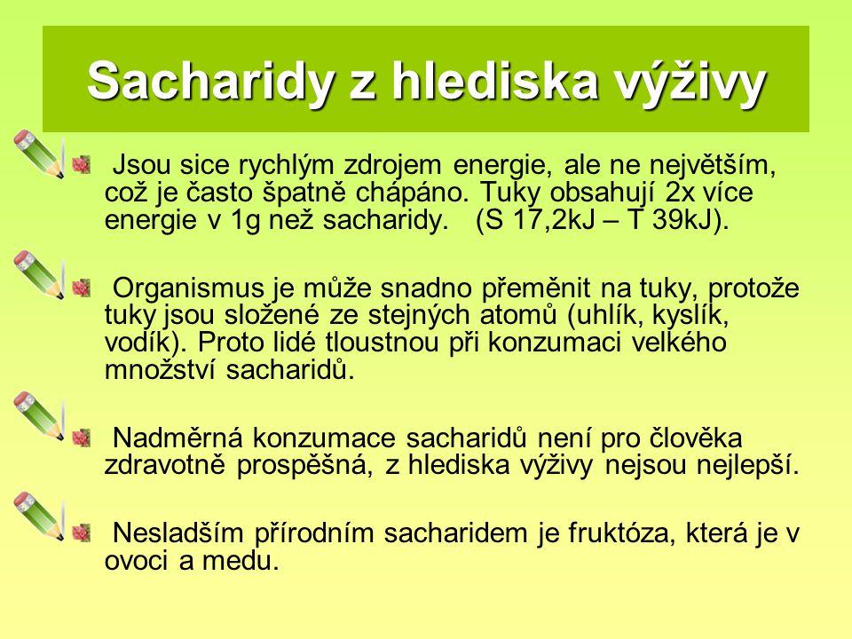 Sacharidy z hlediska výživy