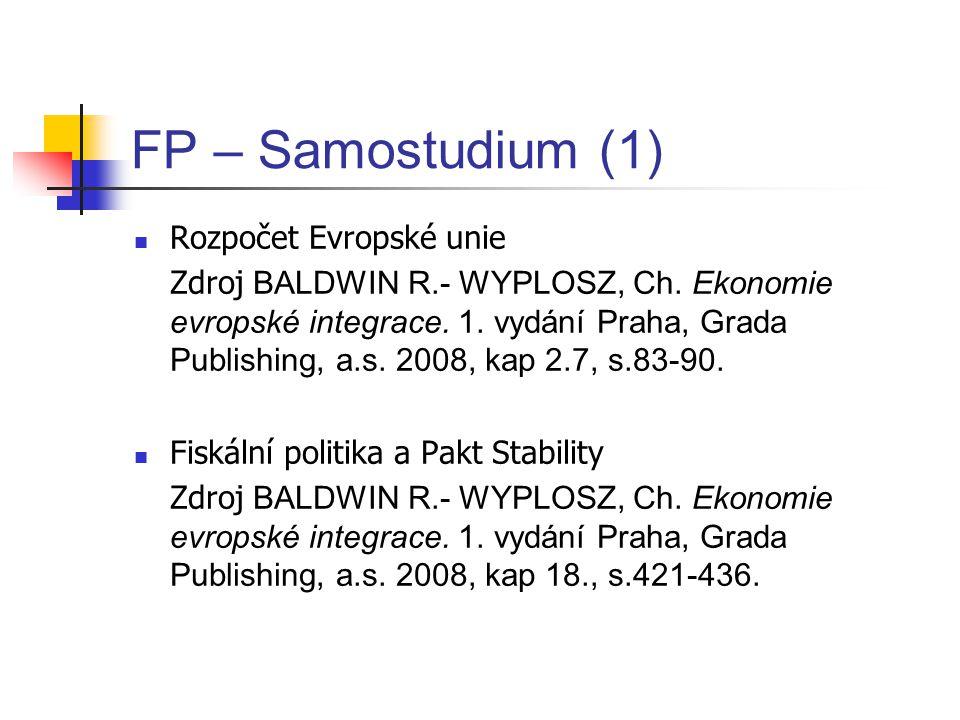 FP – Samostudium (1) Rozpočet Evropské unie