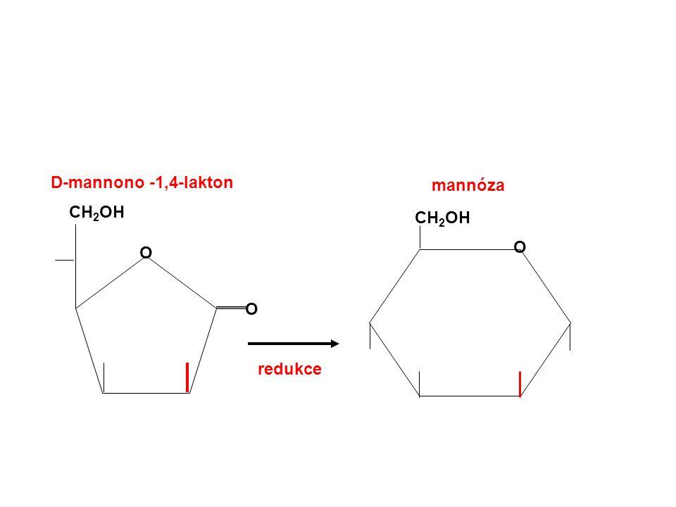 D-mannono -1,4-lakton mannóza CH2OH CH2OH O O O redukce