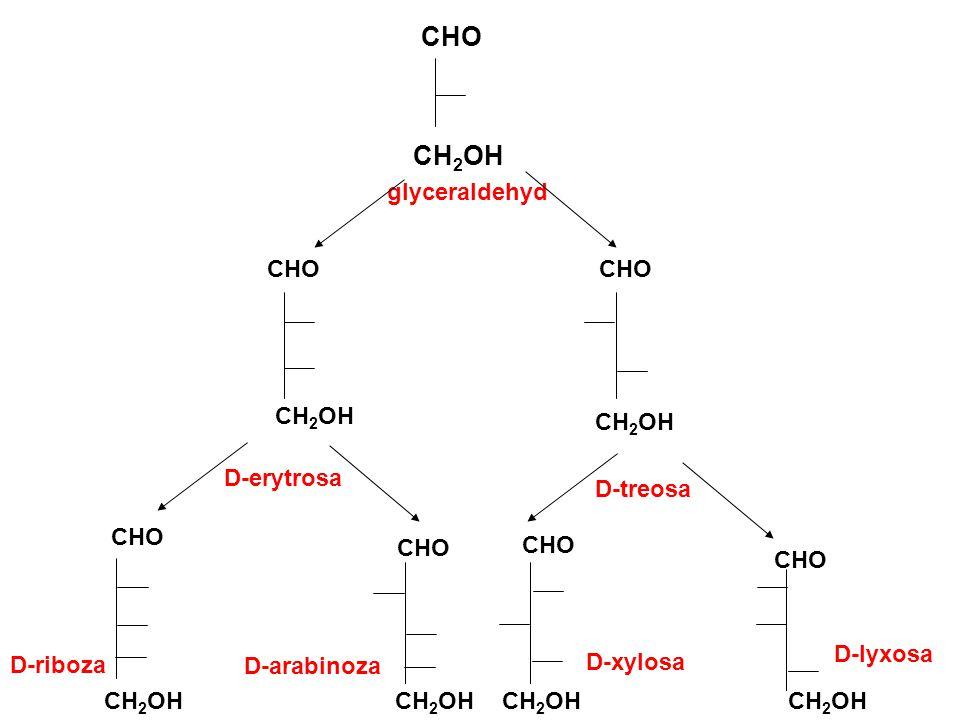 CHO CH2OH CHO CHO glyceraldehyd CH2OH CH2OH D-erytrosa D-treosa CHO