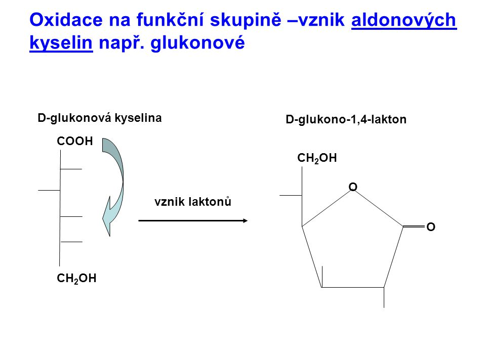 Oxidace na funkční skupině –vznik aldonových kyselin např. glukonové
