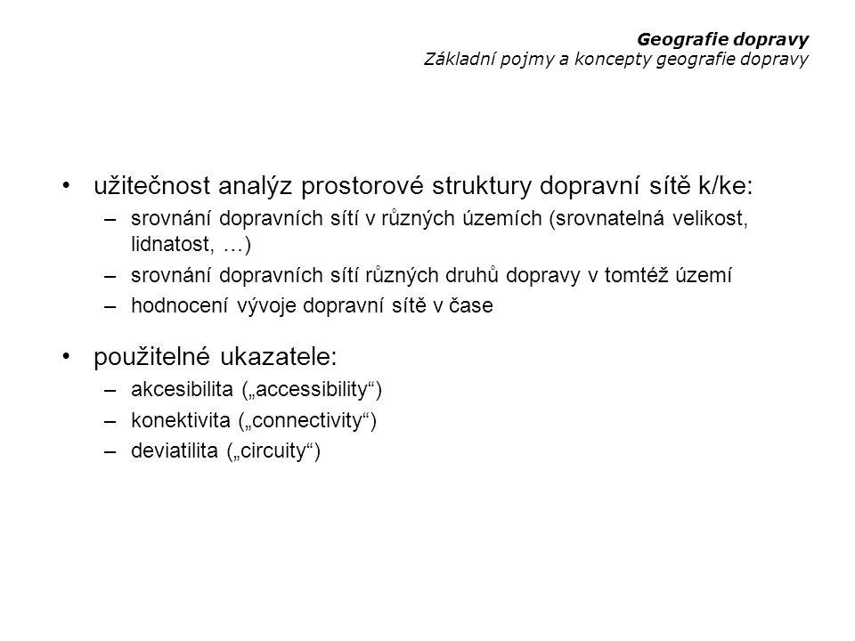 užitečnost analýz prostorové struktury dopravní sítě k/ke: