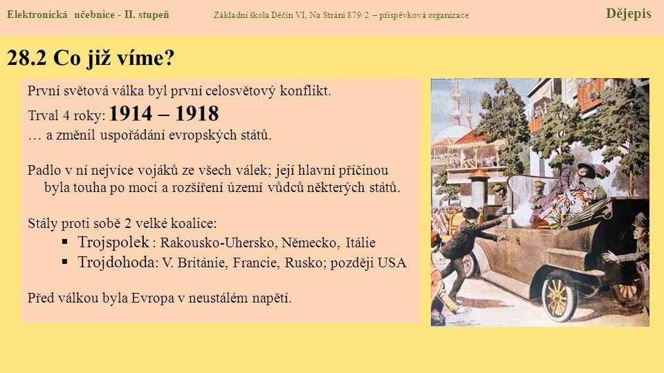 28.2 Co již víme Trojspolek : Rakousko-Uhersko, Německo, Itálie