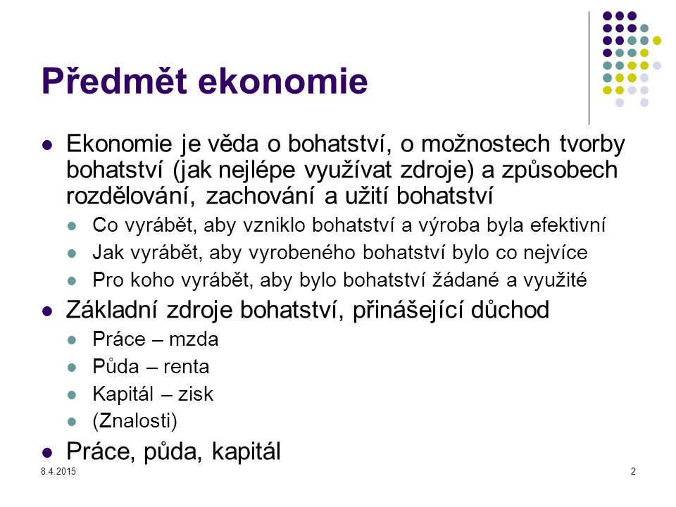 Předmět ekonomie