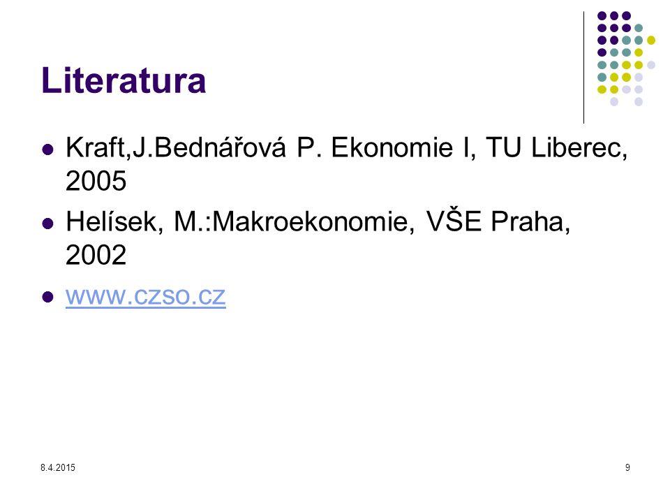 Literatura Kraft,J.Bednářová P. Ekonomie I, TU Liberec, 2005