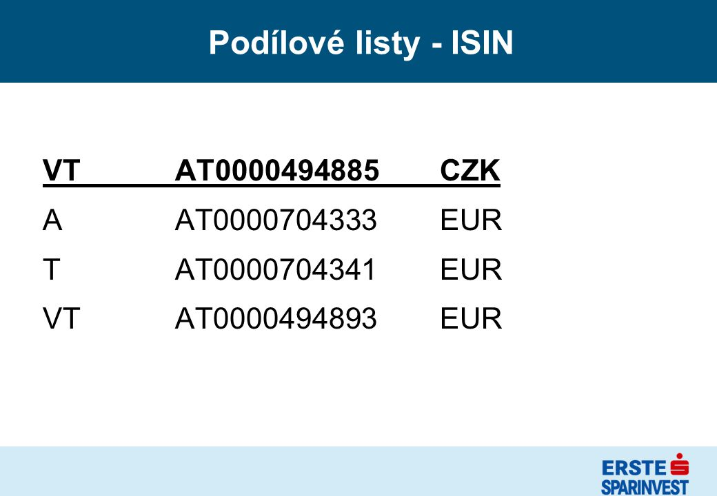 Podílové listy - ISIN VT AT0000494885 CZK A AT0000704333 EUR