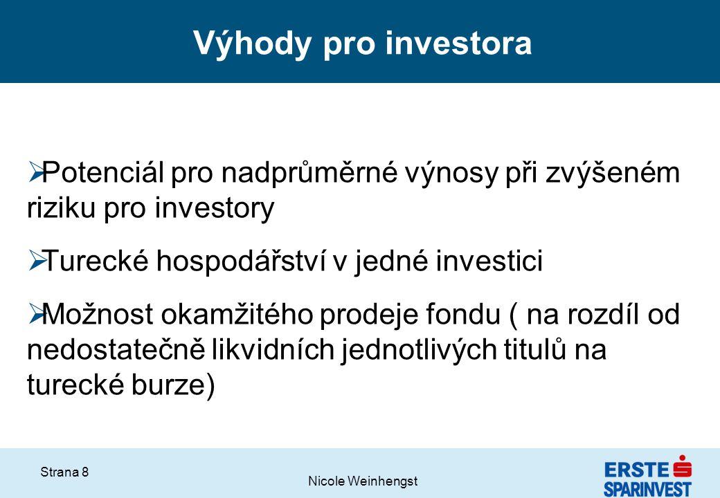 Výhody pro investora Potenciál pro nadprůměrné výnosy při zvýšeném riziku pro investory. Turecké hospodářství v jedné investici.