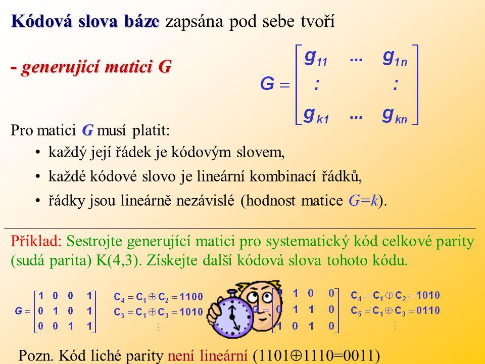 Kódová slova báze zapsána pod sebe tvoří - generující matici G