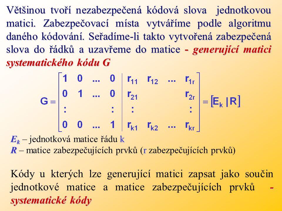 Většinou tvoří nezabezpečená kódová slova jednotkovou matici