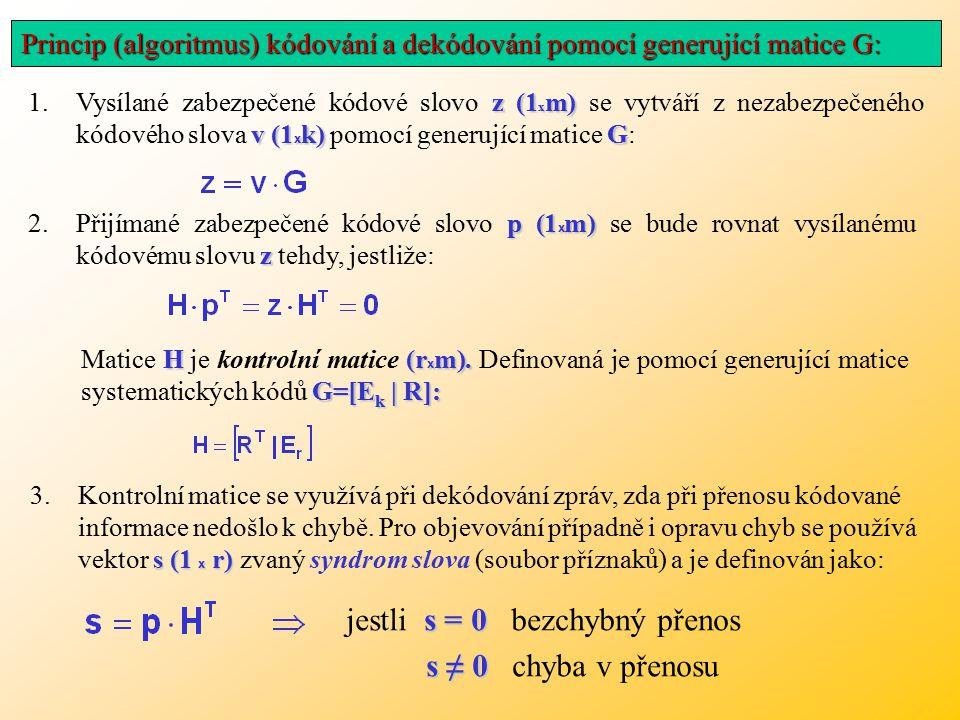 jestli s = 0 bezchybný přenos s ≠ 0 chyba v přenosu