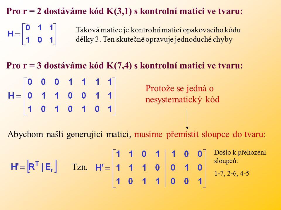 Pro r = 2 dostáváme kód K(3,1) s kontrolní matici ve tvaru: