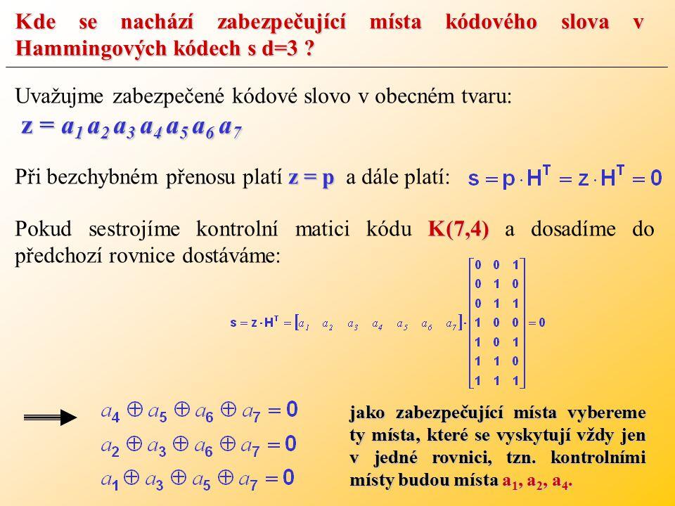 Kde se nachází zabezpečující místa kódového slova v Hammingových kódech s d=3