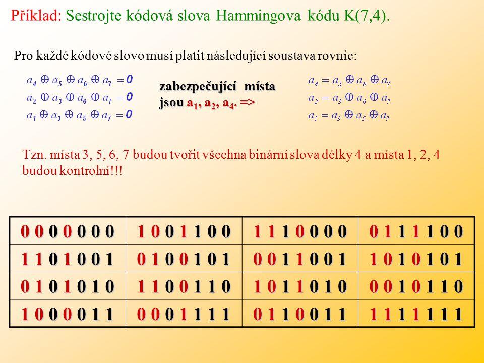 Příklad: Sestrojte kódová slova Hammingova kódu K(7,4).