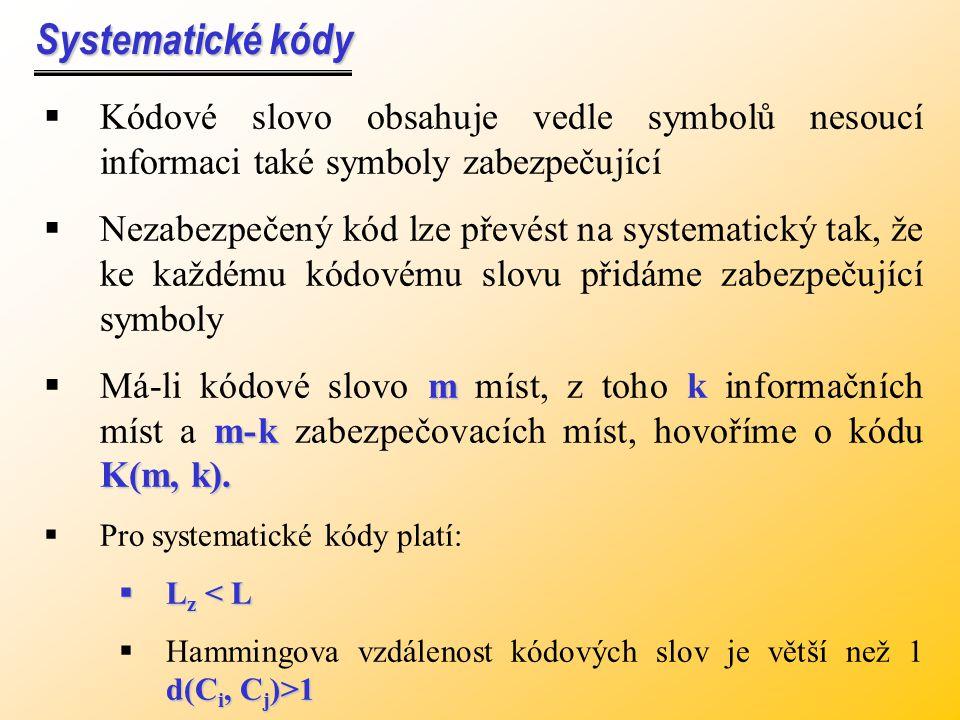 Systematické kódy Kódové slovo obsahuje vedle symbolů nesoucí informaci také symboly zabezpečující.