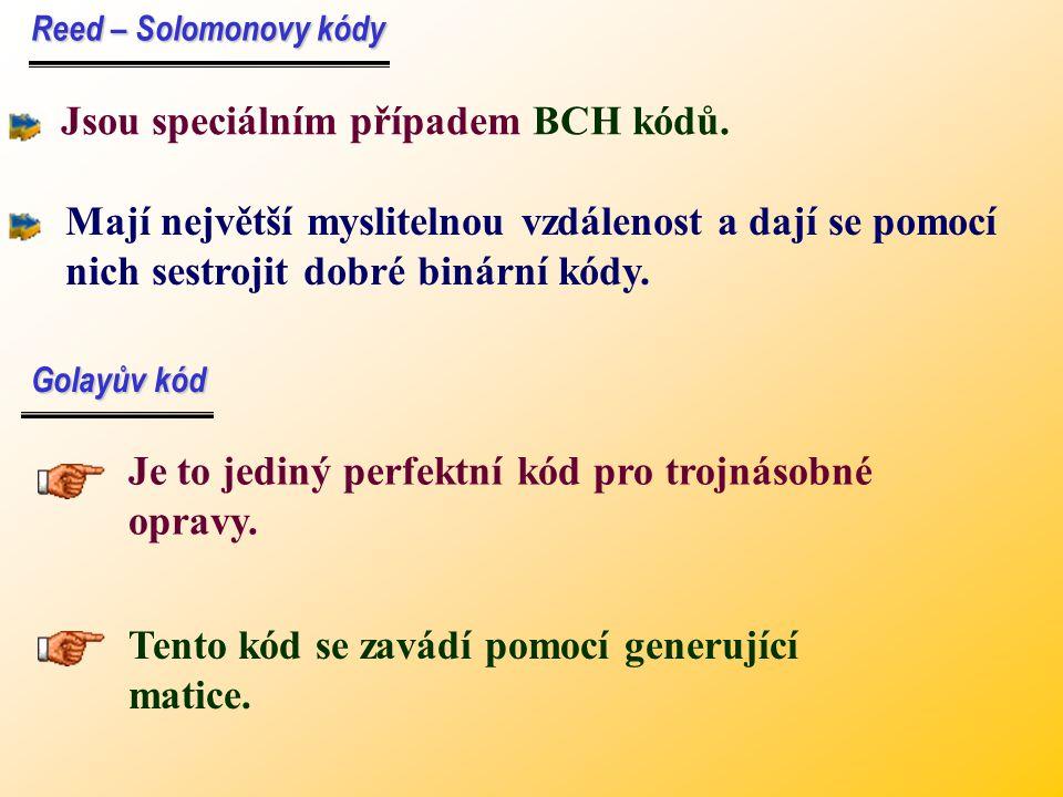 Jsou speciálním případem BCH kódů.