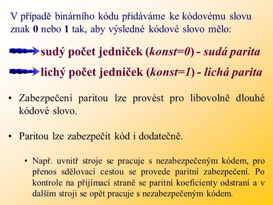 sudý počet jedniček (konst=0) - sudá parita
