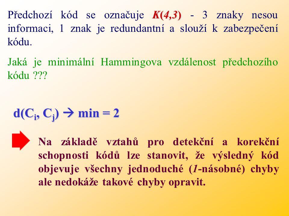 Předchozí kód se označuje K(4,3) - 3 znaky nesou informaci, 1 znak je redundantní a slouží k zabezpečení kódu.