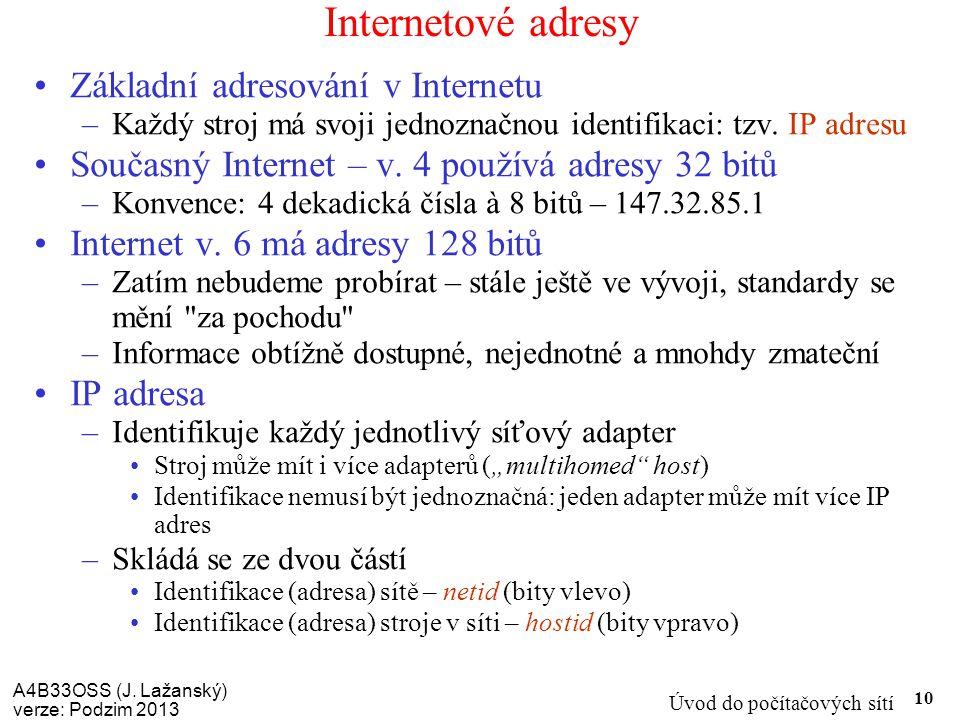 Internetové adresy Základní adresování v Internetu