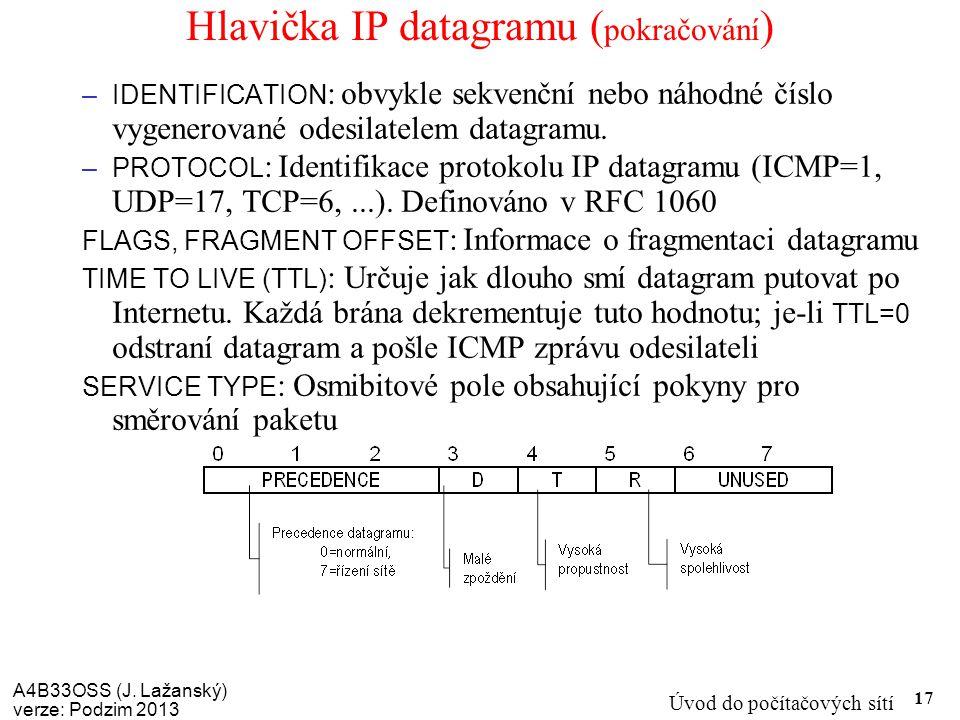 Hlavička IP datagramu (pokračování)