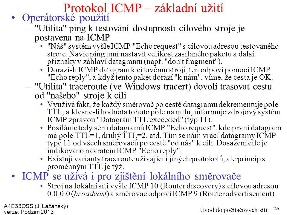 Protokol ICMP – základní užití