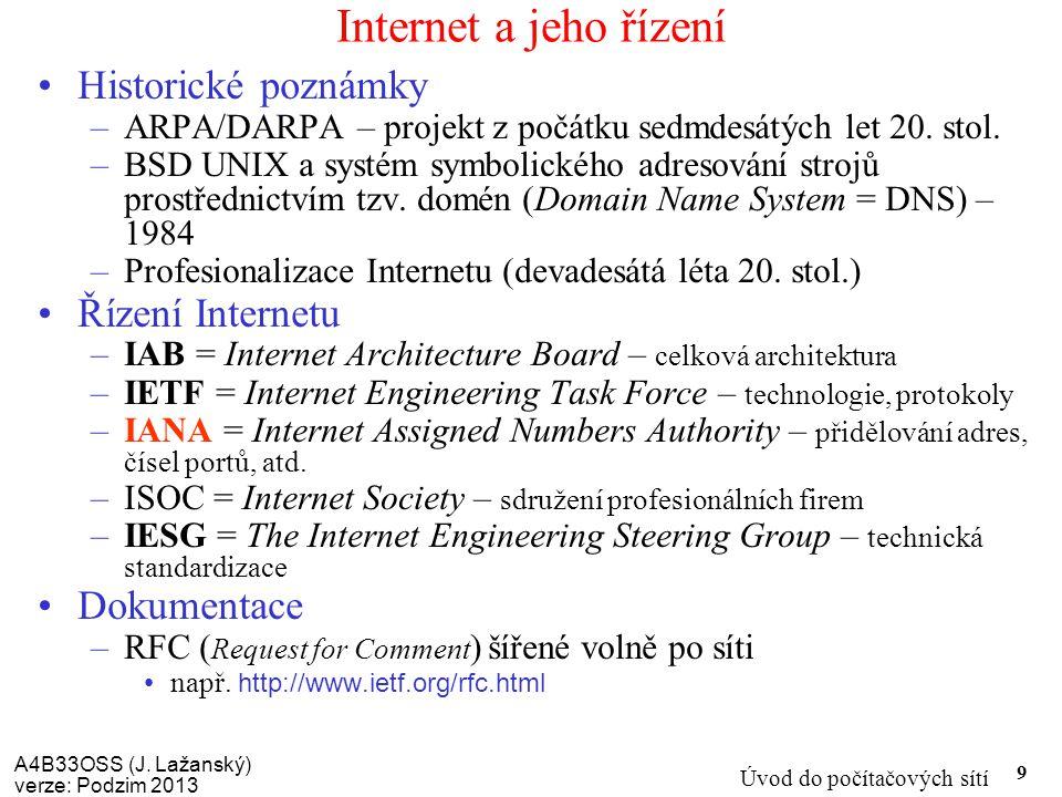 Internet a jeho řízení Historické poznámky Řízení Internetu