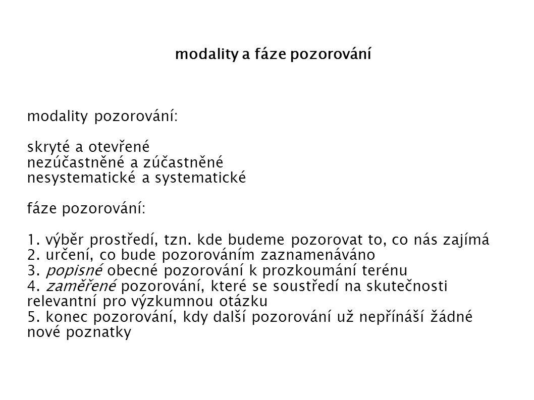 modality a fáze pozorování