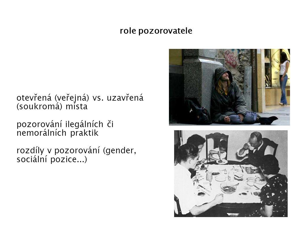 role pozorovatele otevřená (veřejná) vs. uzavřená (soukromá) místa. pozorování ilegálních či nemorálních praktik.