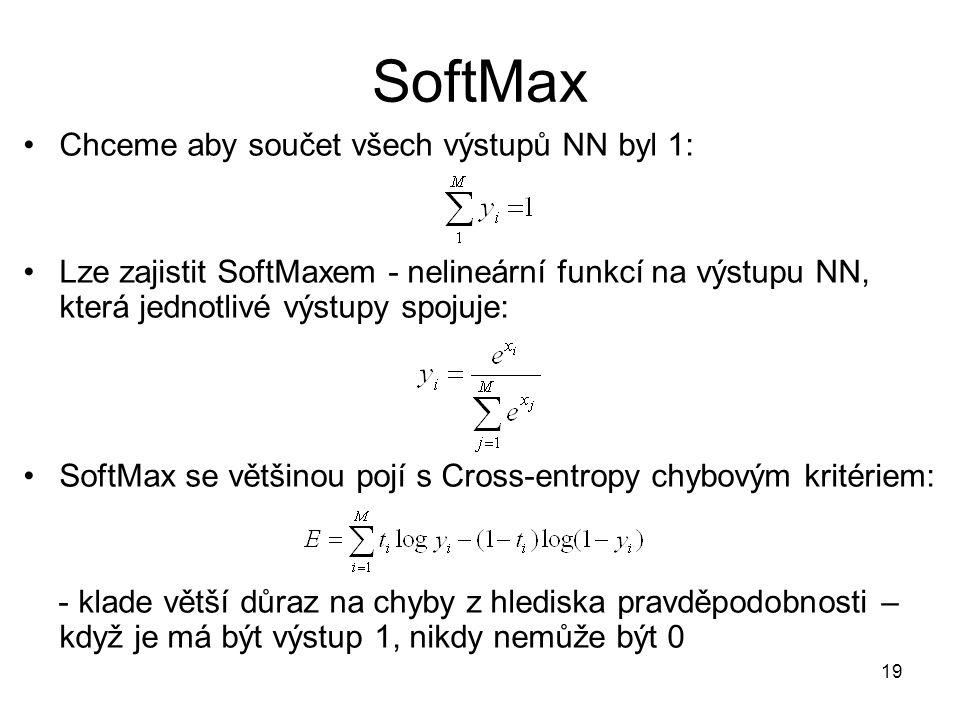 SoftMax Chceme aby součet všech výstupů NN byl 1: