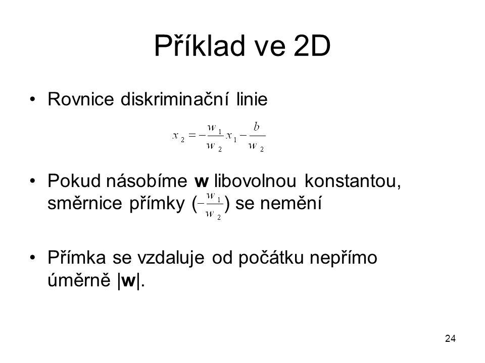 Příklad ve 2D Rovnice diskriminační linie