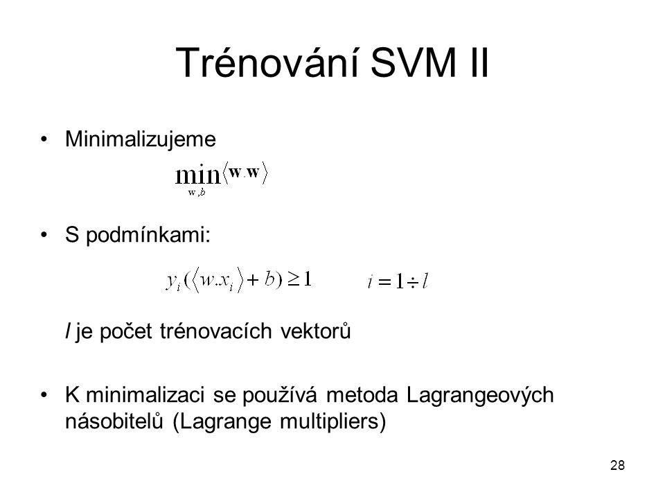 Trénování SVM II Minimalizujeme S podmínkami: