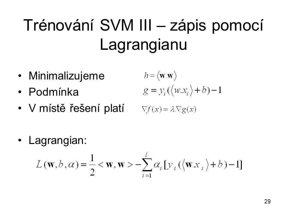 Trénování SVM III – zápis pomocí Lagrangianu