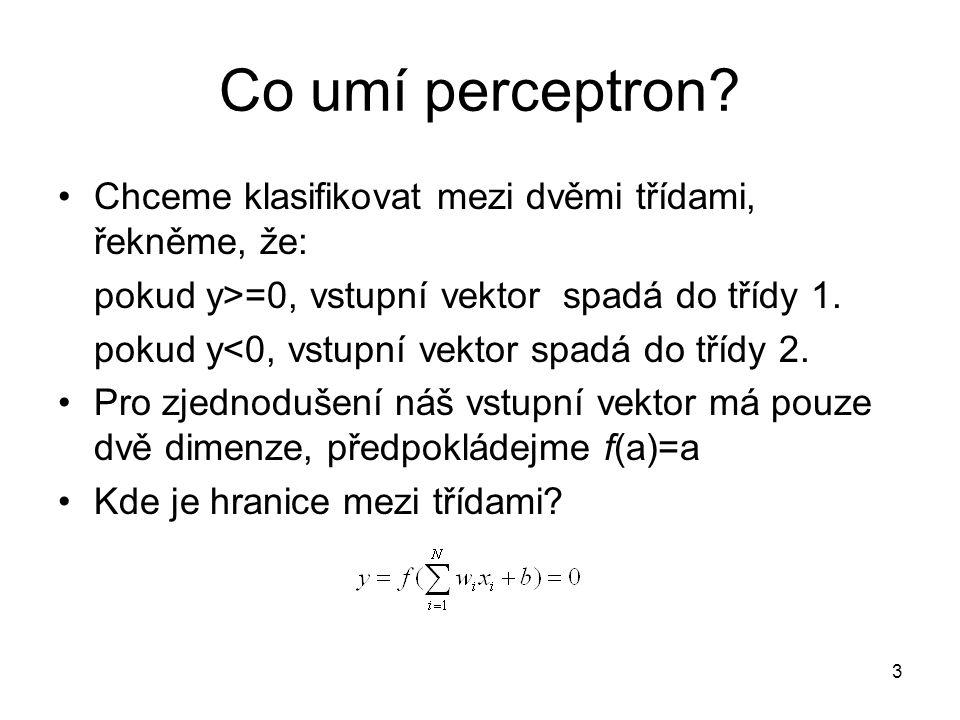 Co umí perceptron Chceme klasifikovat mezi dvěmi třídami, řekněme, že: pokud y>=0, vstupní vektor spadá do třídy 1.