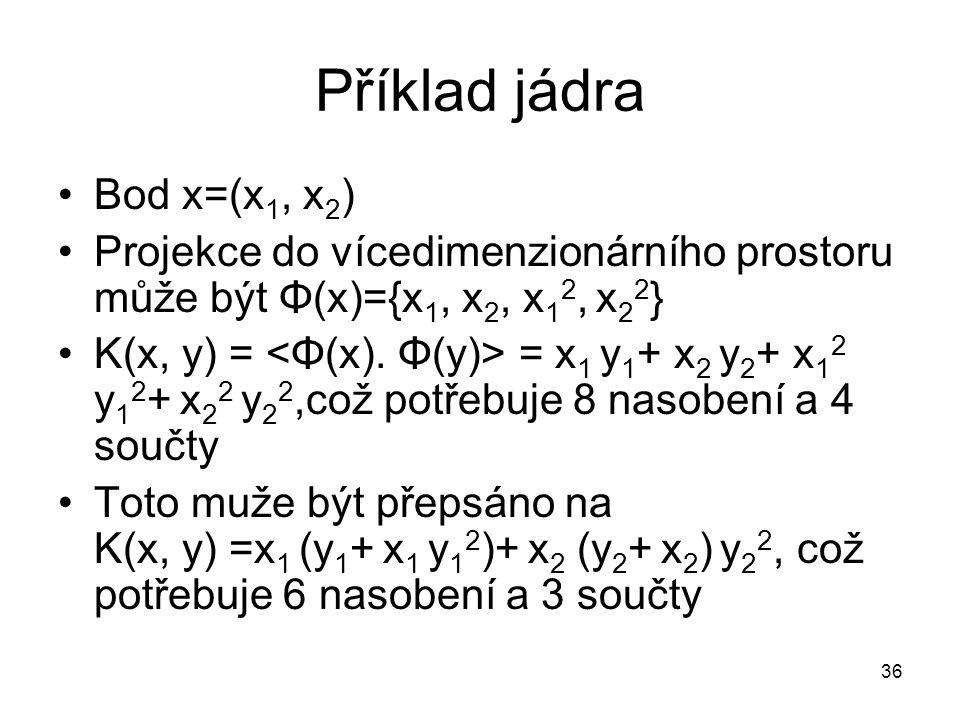 Příklad jádra Bod x=(x1, x2)